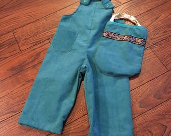 Child's Size 2 Overalls and Purse