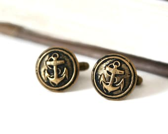 Anchor Cufflinks Nautical Cuff Links - made with vintage anchor buttons