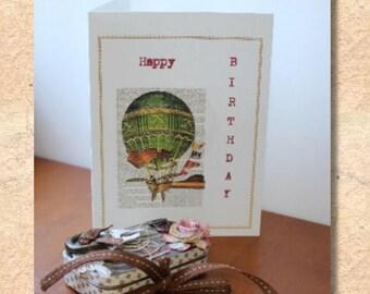 card, birthday card, hot air balloon, vintage look