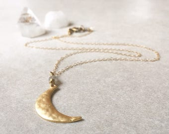 Textured Gold Crescent Necklace