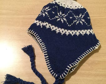 Blue and white snowflake hat with pom pom and ties   ***FREE EMBROIDERY PERSONALIZATION of name or business name *black friday special of th