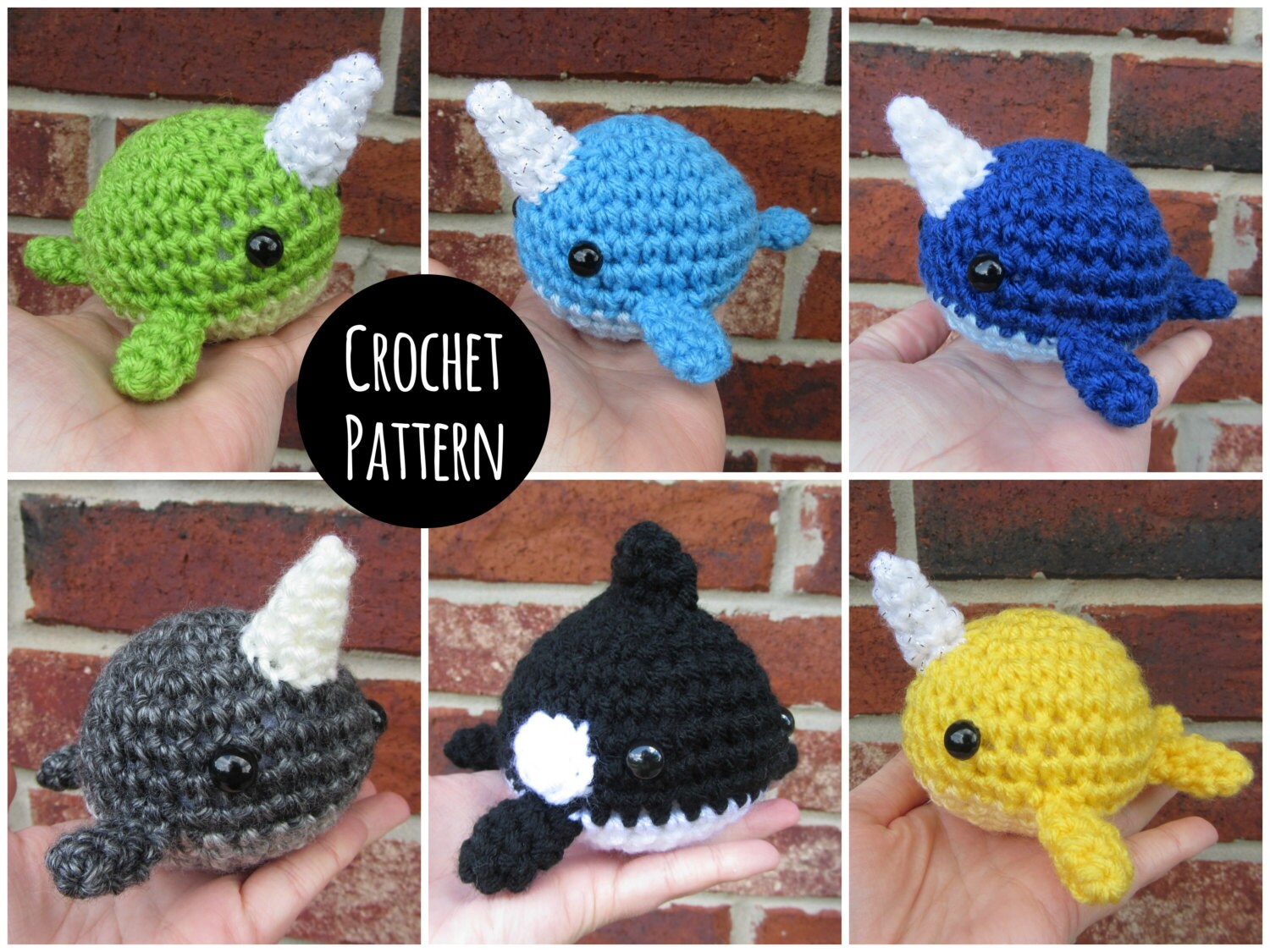 Amigurumi Narwhal Pattern : Crochet pattern blob narwhal dolphin and orca whale