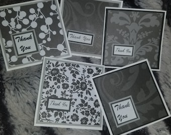 30 assorted black and white mini thank you notecards