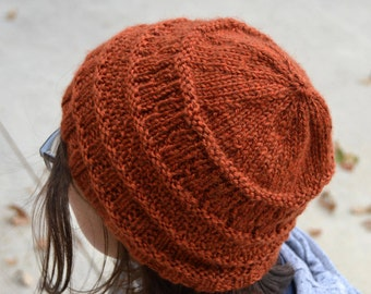 Gracie: YOSEMITE dark pumpkin rust orange Knit Slouch Beanie Ribbed Brim Hat, Hand Knit stylish women teens (2779 2786)