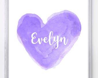 Purple Nursery Art, 8x10, Lavender Nursery Decor, Purple Nursery Print, Personalized, Baby Girl Nursery Art, Girls Bedroom Print,  Baby Room