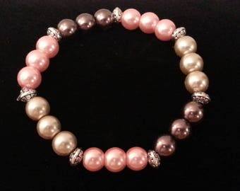 Crème Brulee, Mocha and Antique Pink Pearl Stretch Bracelet
