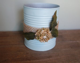 Upcycled tin can with burlap and flower, rustic, centerpiece,