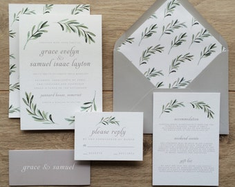 OLIVE | Greenery Wedding Invitations, Olive Wedding Invites, Olive Wedding Invitation Modern Botanical Wedding Invite, Destination Wedding