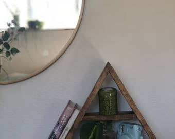 NEW Double Triangle Wood Shelf – Geometric Shelves perfect for crystals, small plants, home decor and more!