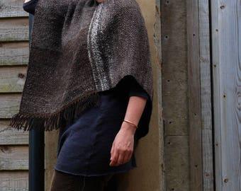 Dark brown handspun Jacobs wool poncho robustly handwoven in Devon, England