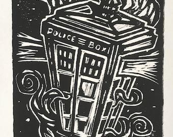 Tardis (Dr. Who)  Linocut Print