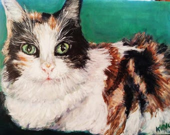 Cat Portraits-A Custom Painted Pet Portrait on Canvas for Lasting Memories of your Pet.  Meet sweet Pea.