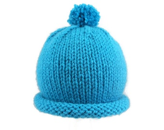 Blue Baby Hat -  Turquoise Hand Knit Infant Bowler Cap - Fits 3 to 6 Months - Soft Warm Rolled Brim Beanie - Cold Weather Pom Pom Cloche