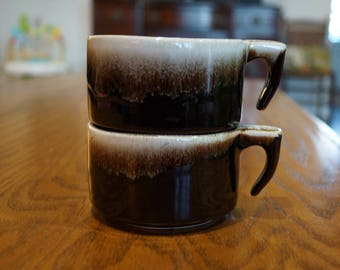 Retro Pair of Brown Drip Pottery Coffee/Tea Cups-Open Hook Handles
