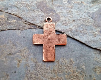 Hammered Cross Pendant Charm Copper N13,rustic copper cross,hammered cross charm,copper cross pendant,ancient cross,simple copper cross