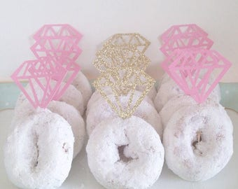 Diamond Cupcake Topper for a dozen cupcakes - Make a Donut into a Diamond Ring - perfect for a Bridal Shower or Bachelorette - lots of co