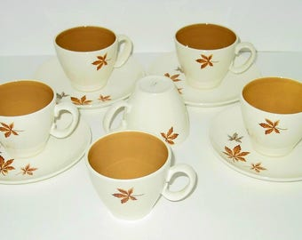 Random Leaves Cups and Saucers Set (4) Two Extra Cups, Taylor, Smith & T, Ever Yours Collection