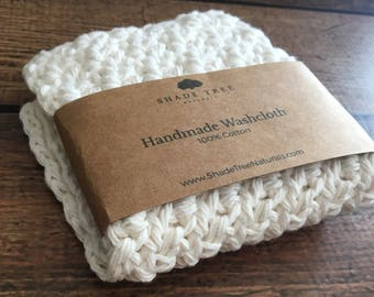 Cotton Washcloth. Crochet Wash Cloth. Natural Cotton Wash Cloth. White Cotton Face Cloth. Crochet Dish Cloth. Unbleached Cotton Towel. Gift