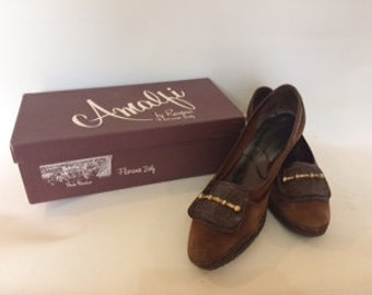 Vintage shoes 60s Amalfi by Rangoni Brown Leather suede court shoes pumps size UK 7.5  EU 40  US 9.5