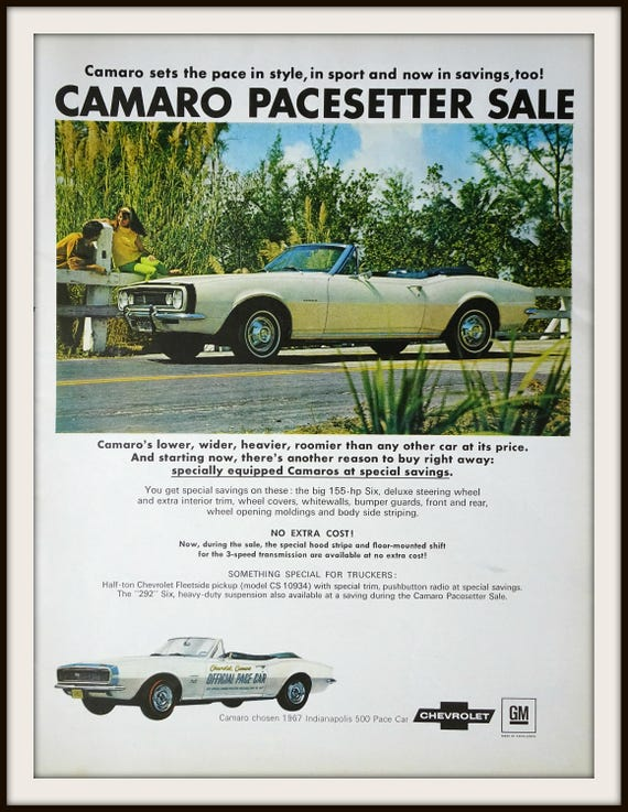 1967 Chevrolet Camaro Advertisement. Vintage Chevrolet Ad.