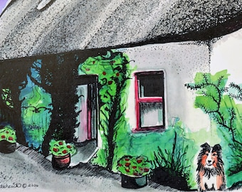 Ireland Painting, Ireland Prints, Sheltie Dog, Thatched Cottage, Irish Cottage, Irish Watercolor, Irish Farmhouse, Prints Of Ireland, Irish