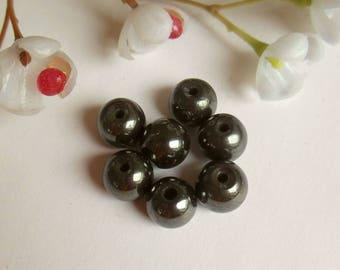 set of 9 round hematite beads