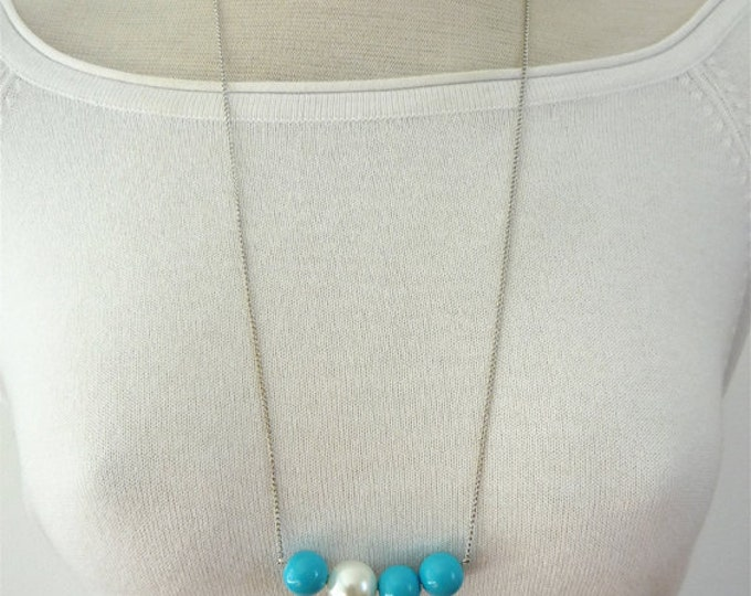 Long  beaded Necklace - long chain and beads necklace - minimalist ball necklace
