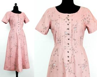 Vintage 1950s dress . Cherry Blossom . mauve pink 40s / 50s shirtwaist dress . 1950s day dress . md / lg