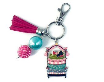 Princess Bed Key Chain/Princess and the Pea/ Fairy Tale Key Chain/Theater Gifts/Actor Gifts/Princess Gifts/Once Upon a Mattress Gift