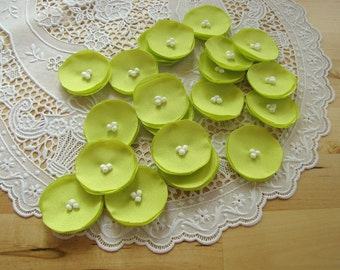 Fabric flowers, sew on flower appliques, fabric appliques, wedding craft supplies, floral embellishments (20 pcs)- MINI CHARTREUSE POPPIES