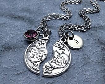 Mizpah Necklace / Couples Necklace Set / Genesis 31:49 Necklace / Mizpah Necklaces / Religious Jewelry / Couples Jewelry / Mizpah Medal