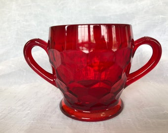 Red Glass Double Handled Sugar Dish