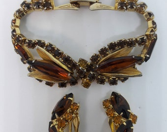 Amber Root Beer Rhinestone Vintage Bracelet and Clip On Earrings
