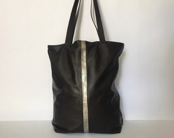 Super soft, black italian leather tote with metallic leather insert
