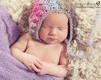 Crochet PATTERN - Crochet Pattern Hat - Crochet Bonnet Pattern - Crochet Hat Pattern - Crochet Patterns for Babies - 4 Sizes - PDF 353