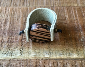 Leather Ring - Grey and Brown - Cool Leather Jewelry - Round Wood Bead