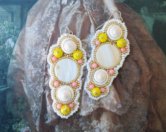 Divine Pastel Pink & Yellow Statement Earrings; Pastel Marie Antoinette Earrings; Pastel Mermaid Earrings; Pastel Baroque Earrings