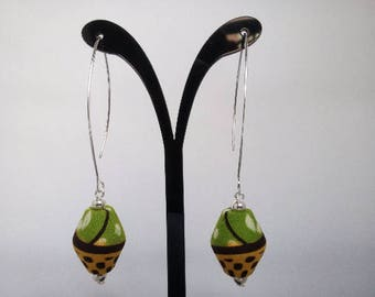 Wax fabric green, and 925 Sterling Silver earrings