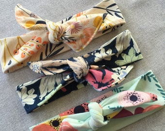 Set of 3 top knot headbands // Soft and cute one size fits all headbands floral prints baby headband // adult headband // top knot headband