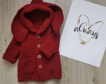 CROCHET Pattern, Us Crochet Terms, Baby, Toddler, JACKET, COAT,  Cardigan, Bunny Ears,