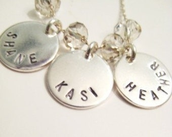 Crystal Names - Custom Stamped Little Silver Charms with Sparkle N Shine