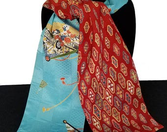 Kimono Scarf S7869 - sample print aqua