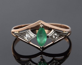 Emerald ring, Antique ring, Art deco ring, Geometric ring, Promise ring, Marquise ring, Modern ring, Fine gold ring, Everyday ring