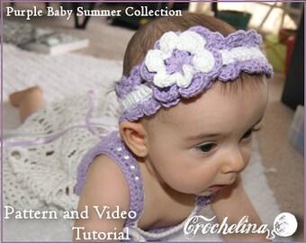 Video Tutorial Pattern - Crochet Feminine Bootie Pattern - Purple Baby Summer Collection