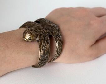 Sloth Bracelet - Sloth Jewelry - Sloth Cuff - Sloth Gift - Sloth Sculpture - Animal Bracelet - Animal Jewelry - Sloth Accessory