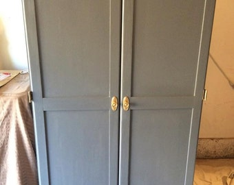 Blue and Gold Armoire, desk, hutch, storage, Office furniture