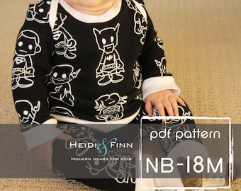 Baby Sweatsuit pattern and tutorial NB - 18M PDF pattern boy girl modern infant layette pajamas