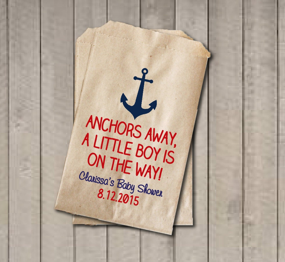 Boy Baby Shower Favor Bags Anchors Away Bags Nautical Baby