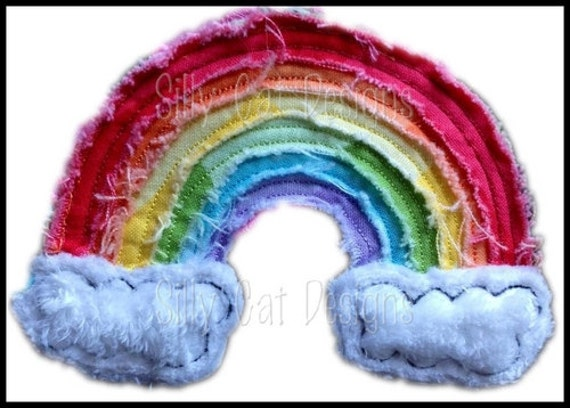 Raggy Rainbow Applique Machine Embroidery Design