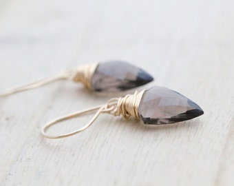 Quartz Dangle Earrings , Arrowhead Gemstone Drop Earrings , Gold , Rose , Silver , Crystal Smoky Quartz , Boho Fashion - Arrow